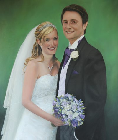 Bride and Groom Wedding Portrait Painting in Oil