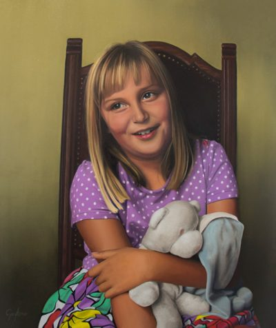 Portrait painting of young blonde girl