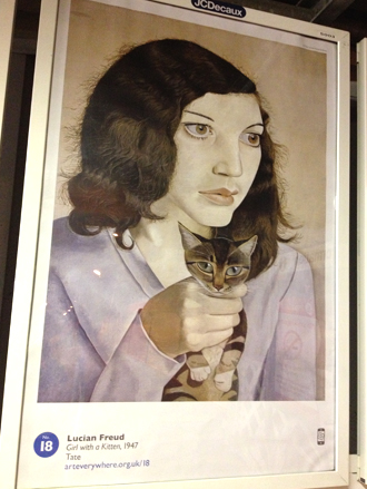 Poster of Girl with a Kitten by Lucian Freud