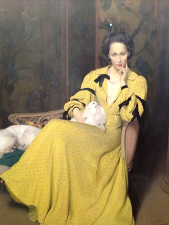 Portrait Painting by Sir Herbert James Gunn of Pauline in the Yellow Dress