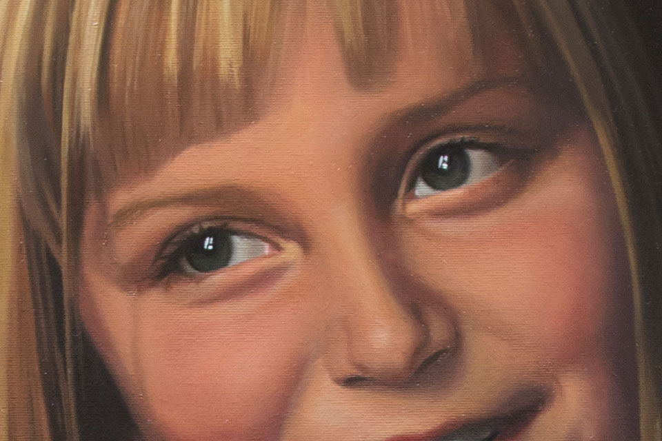 Oil Painting of a Girl's Eyes
