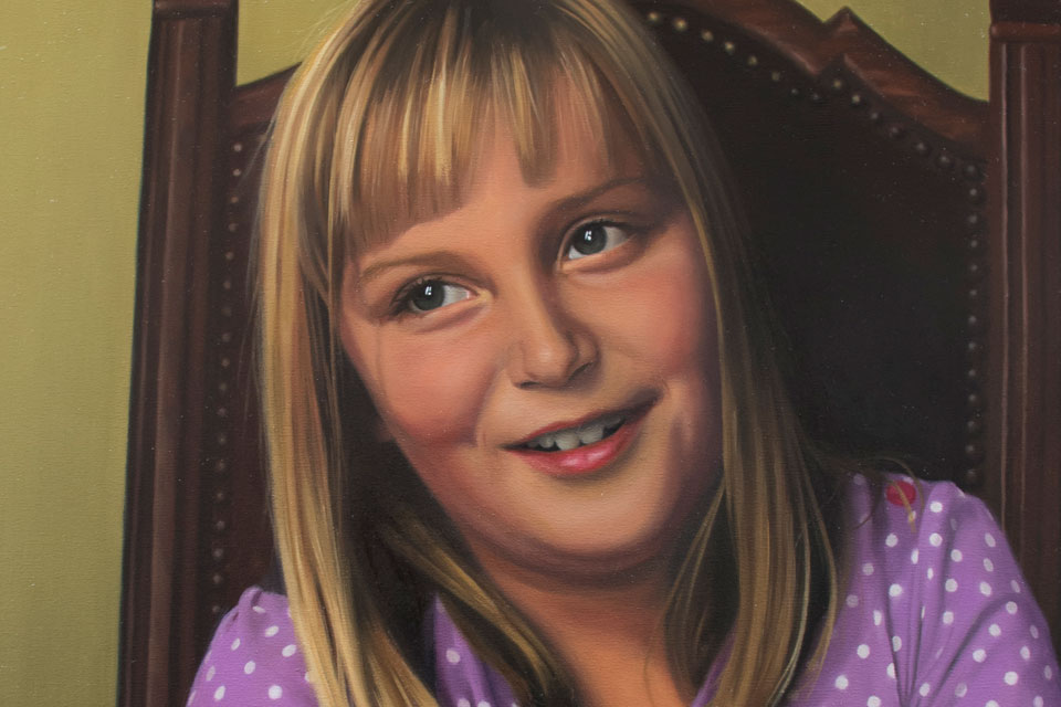 Portrait Painting of Girl Close Up