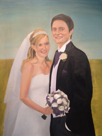 Double wedding portrait painting in progress