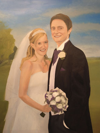 Portrait in Progress of Wedding Couple with Pennines