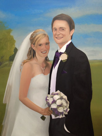 Wedding portrait painting in progress