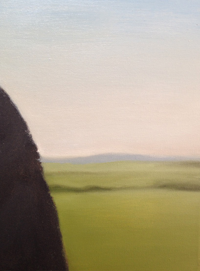Pennines in background of portrait painting