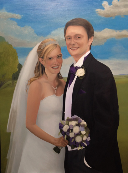 Wedding portrait with cloudy sky
