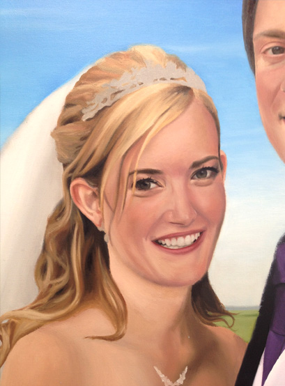 Painting showing highlights and detail of the Bride's eyes