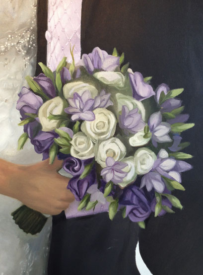 Oil painting of bouquet in progress