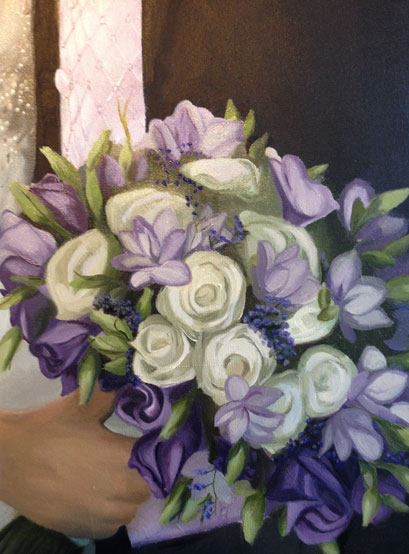 Detail of a painting of wedding flowers