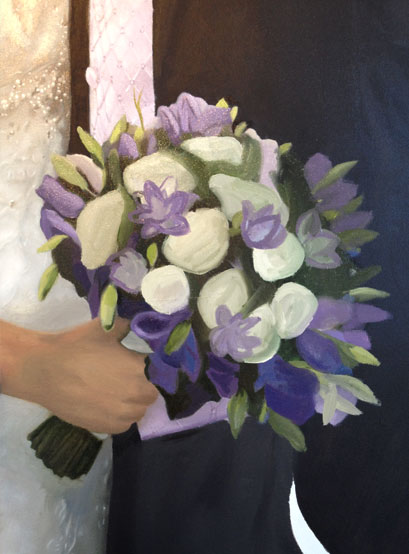 Painting of a wedding bouquet in progress
