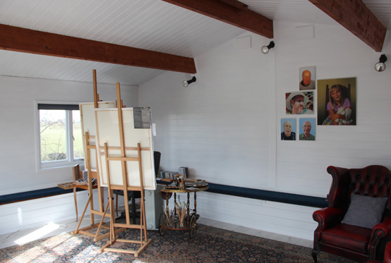 Portrait painter's art studio