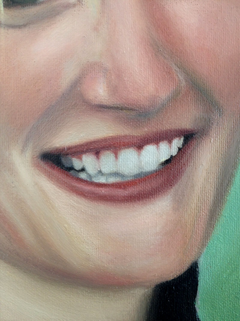 Close up detail of an oil painting of a mouth