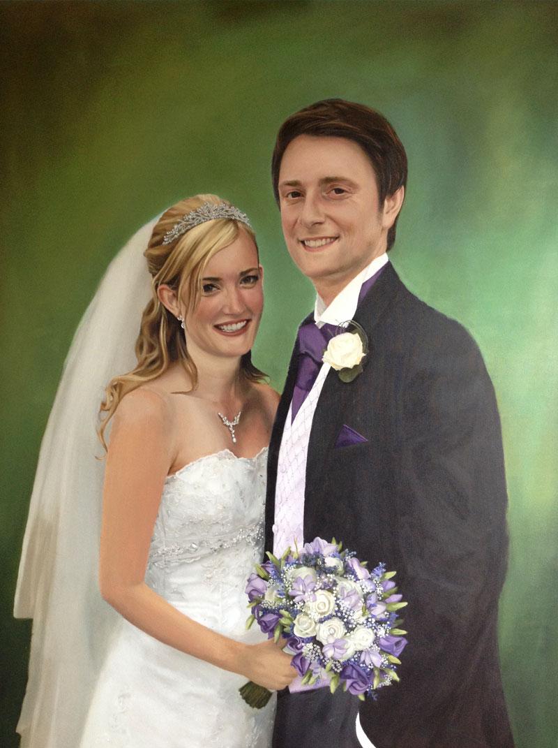 Double wedding portrait painting