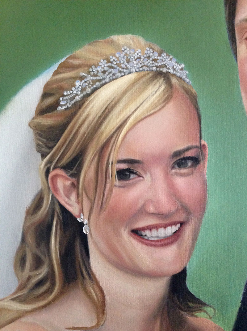 Painting of a bride wearing a tiara