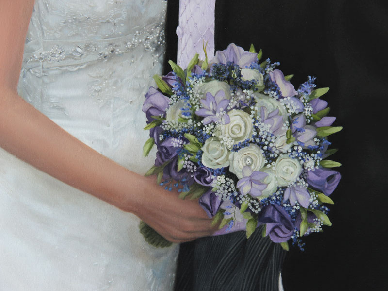 Close up of hand and bouquet in painting