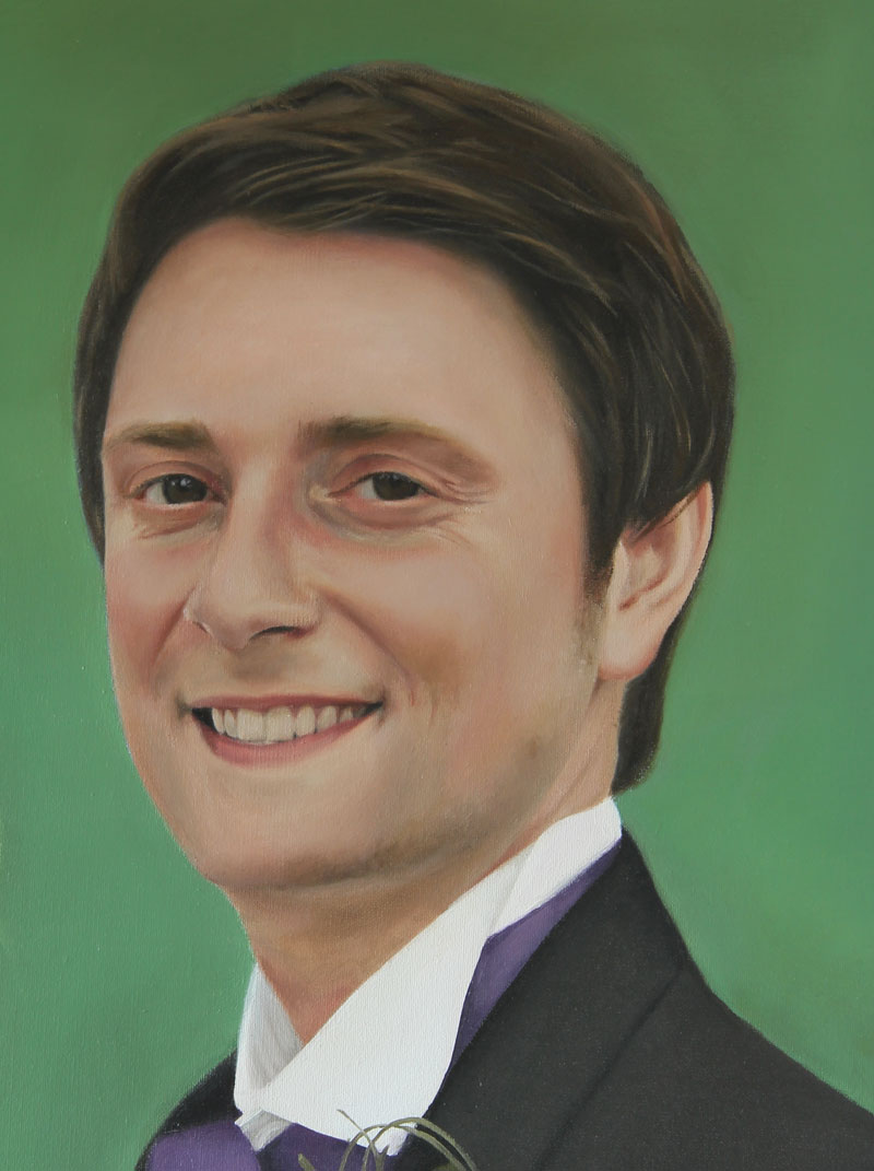 Close up of a portrait painting of a groom