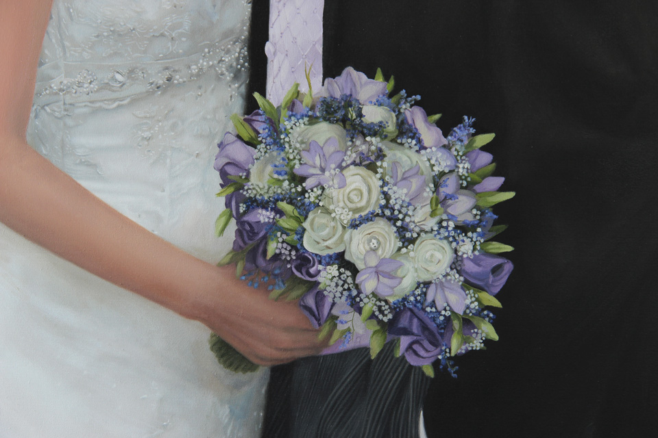 Detail of Oil Painting of Wedding Bouquet of Flowers