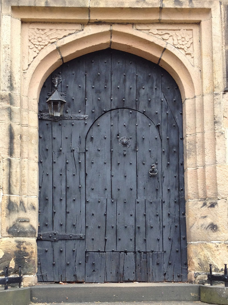 Old Black Wooden Door at Hoghton Tower