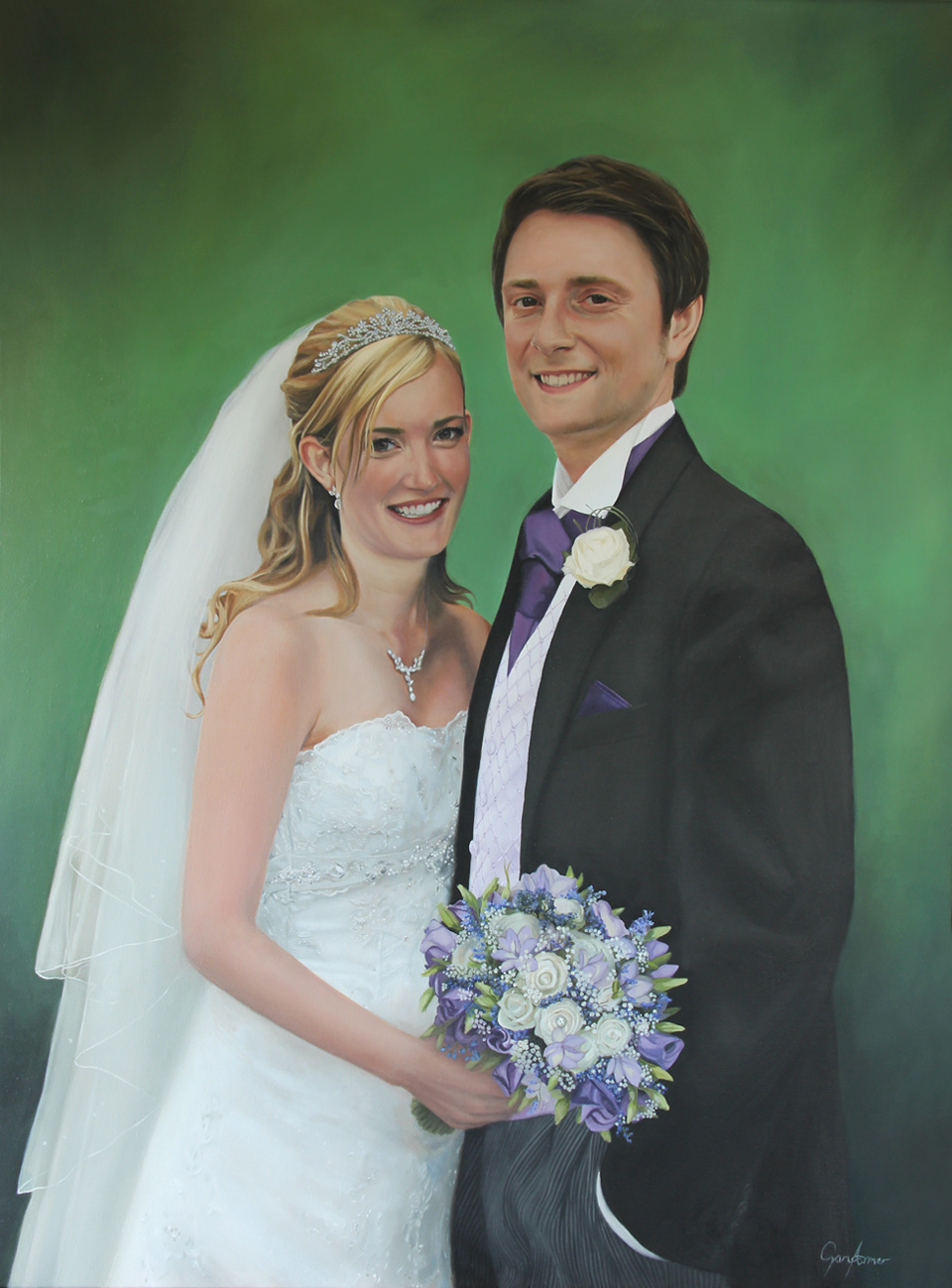 Wedding Portrait Painting of Bride and Groom