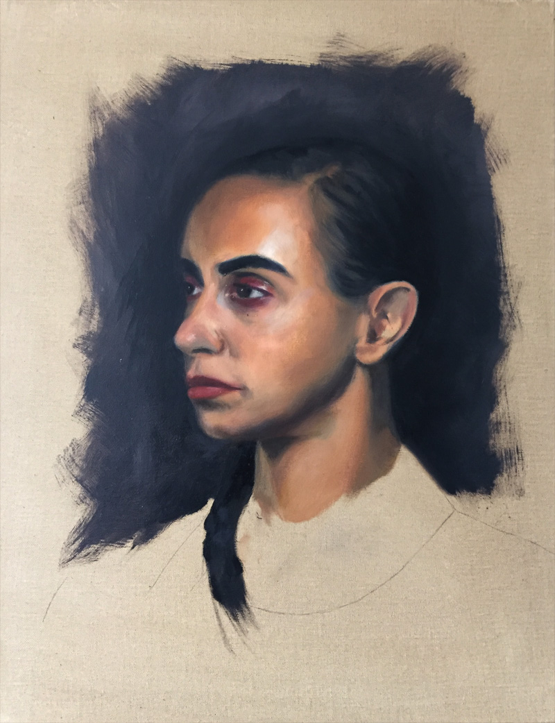Alla prima portrait painting in oils