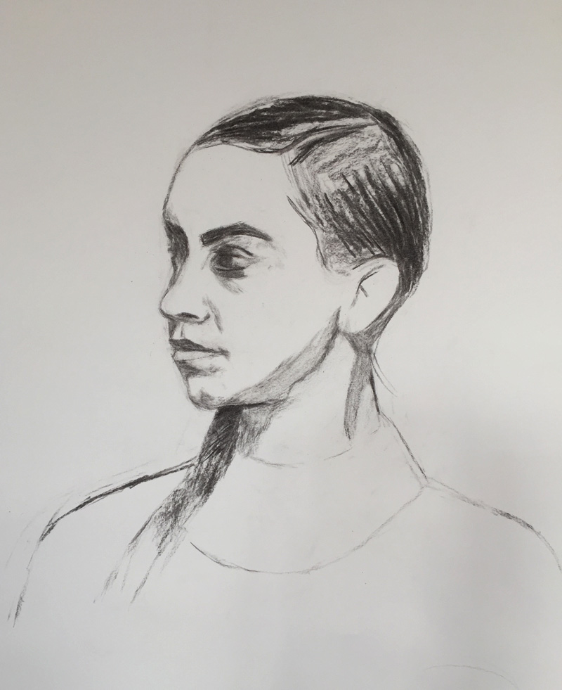Sight-size charcoal portrait sketch