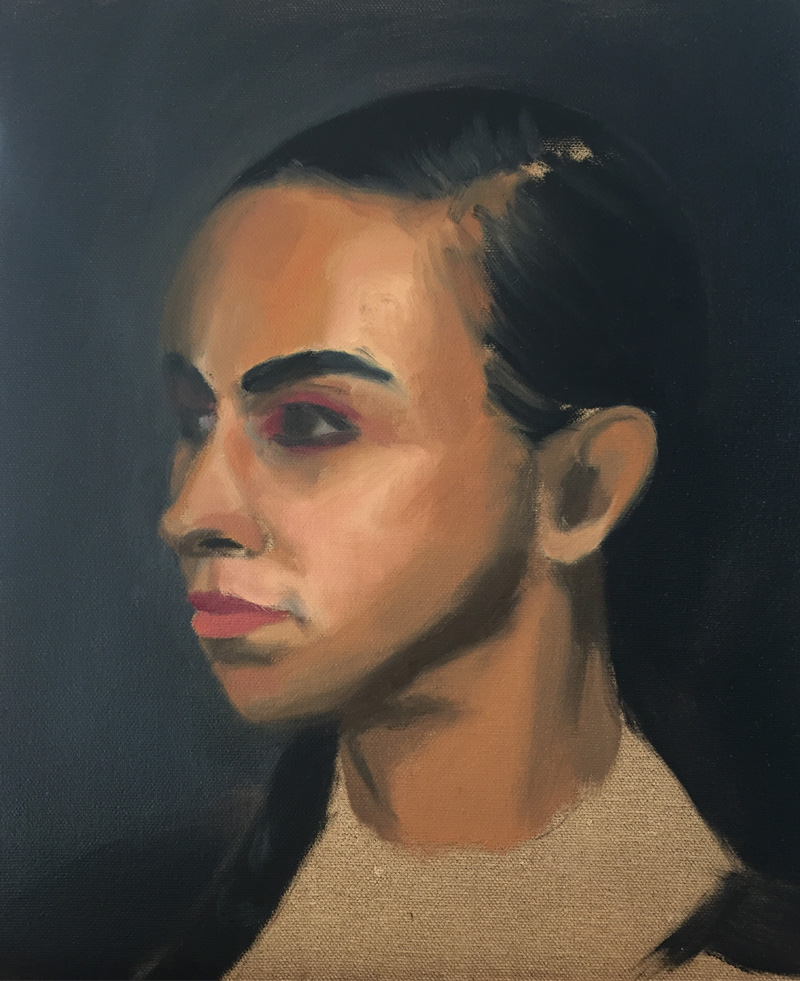 Oil colour study for a portrait