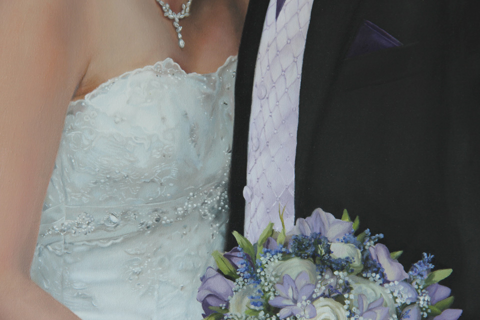 Painting detail of wedding dress and waistcoat