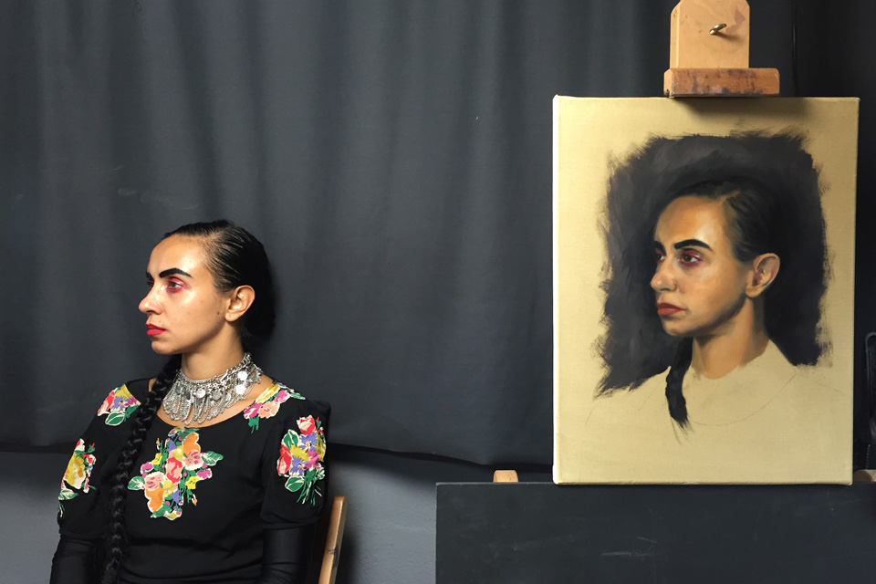 Maya Portrait Painting from Life