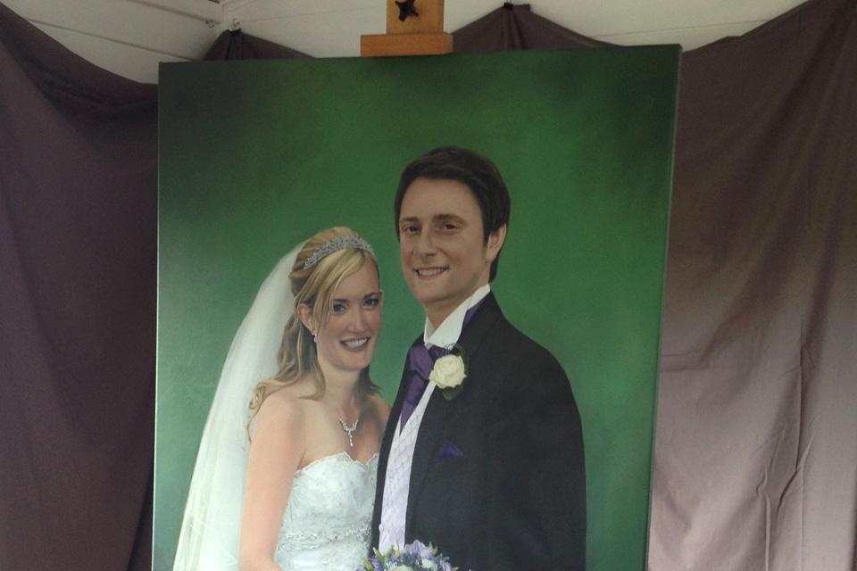 Wedding Portrait on Studio Easel