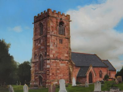 Painting of All Saints Church, Handley, Cheshire