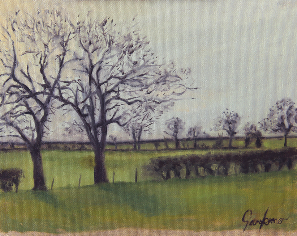 Winter Fields Plein Air Oil Study