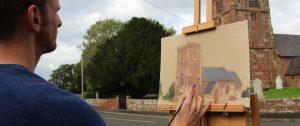 Plein Air Painting of Church