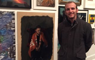 Gary Armer Artist with his Not a Penny More Portrait at the Grundy