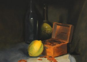 Still Life Painting of Bottles and a Lemon