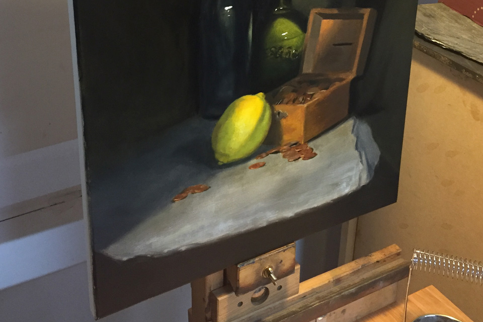 Still Life Painting with Lemon Detail
