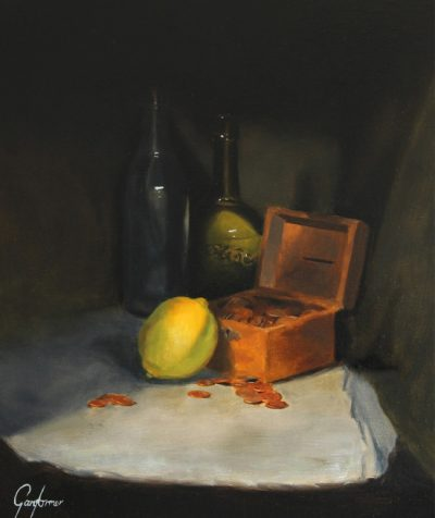 Still Life Painting of Lemon, Bottles and Coins