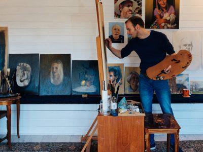 Portrait Artist Painting in Art Studio