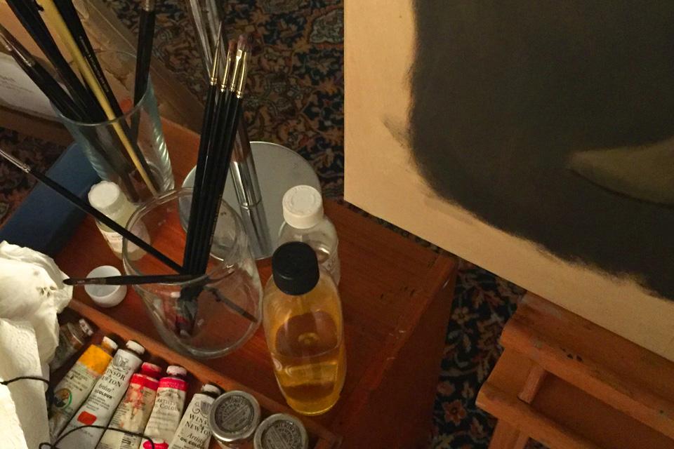 Paint Brushes in Art Studio