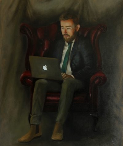The Entrepreneur Portrait Painting with an Apple MacBook
