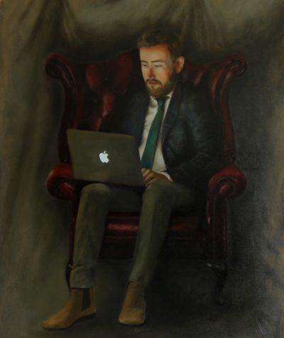 The Entrepreneur Portrait Painting with an Apple MacBook