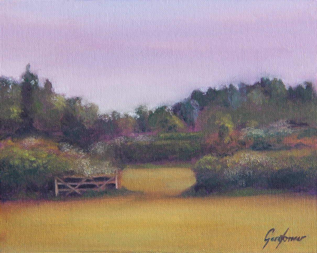 Farm Gate in the Morning Sun Landscape Painting
