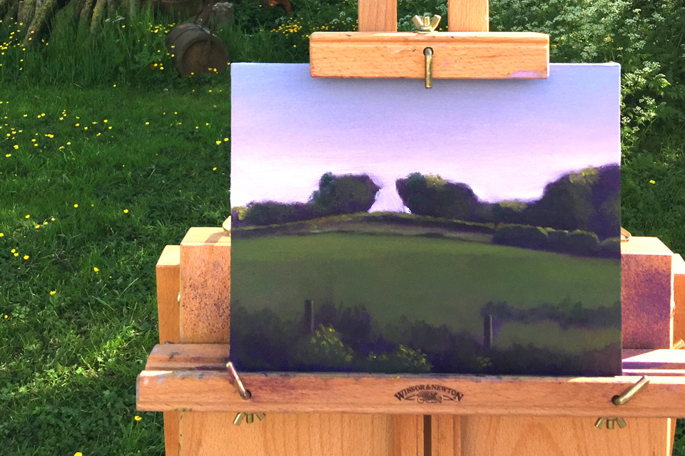 Plein Air Painting of Trees in Progress