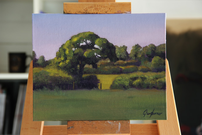 Tree in the Afternoon Sun Plein Air Painting