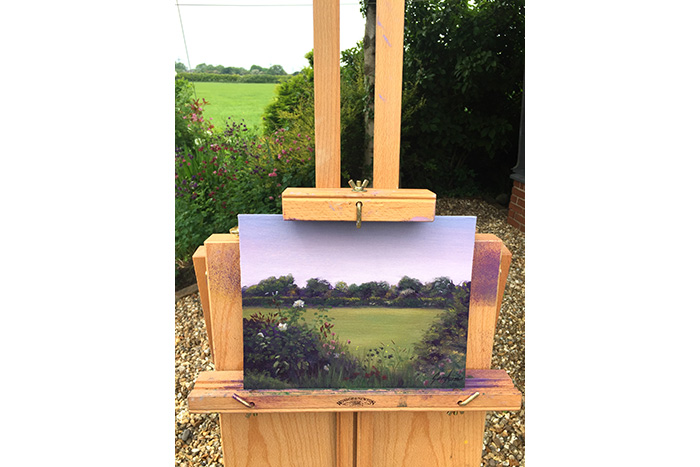 Wildflowers off Whin Lane Plein Air Painting by Gary Armer Artist