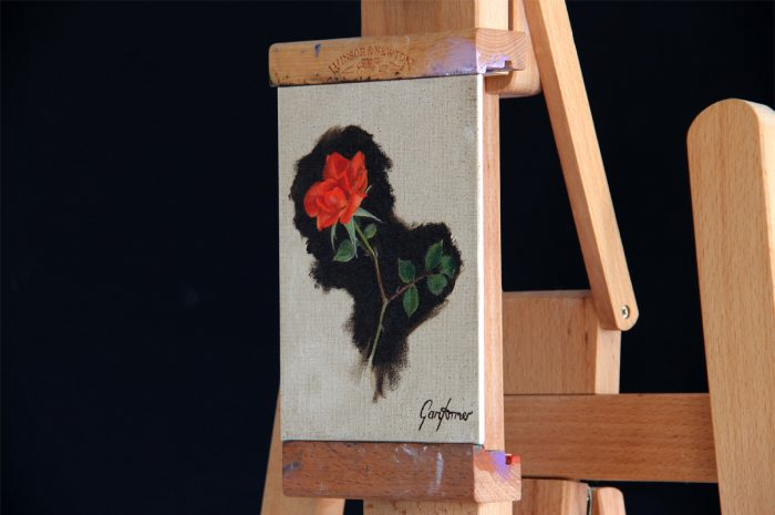 Climbing Rose Oil Painting in Studio