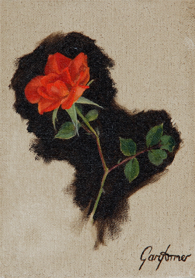Oil Painting of a Climbing Rose