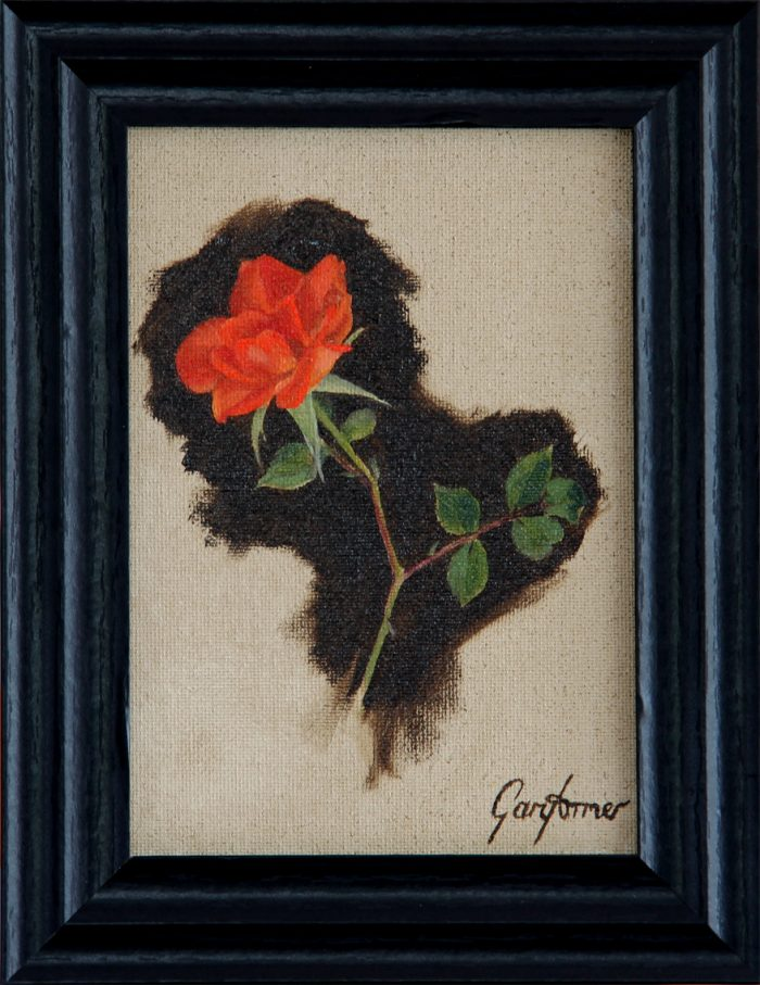 Climbing Rose Oil Painting in Frame