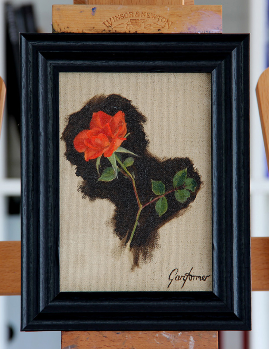 Climbing Rose Oil Painting Framed in Studio