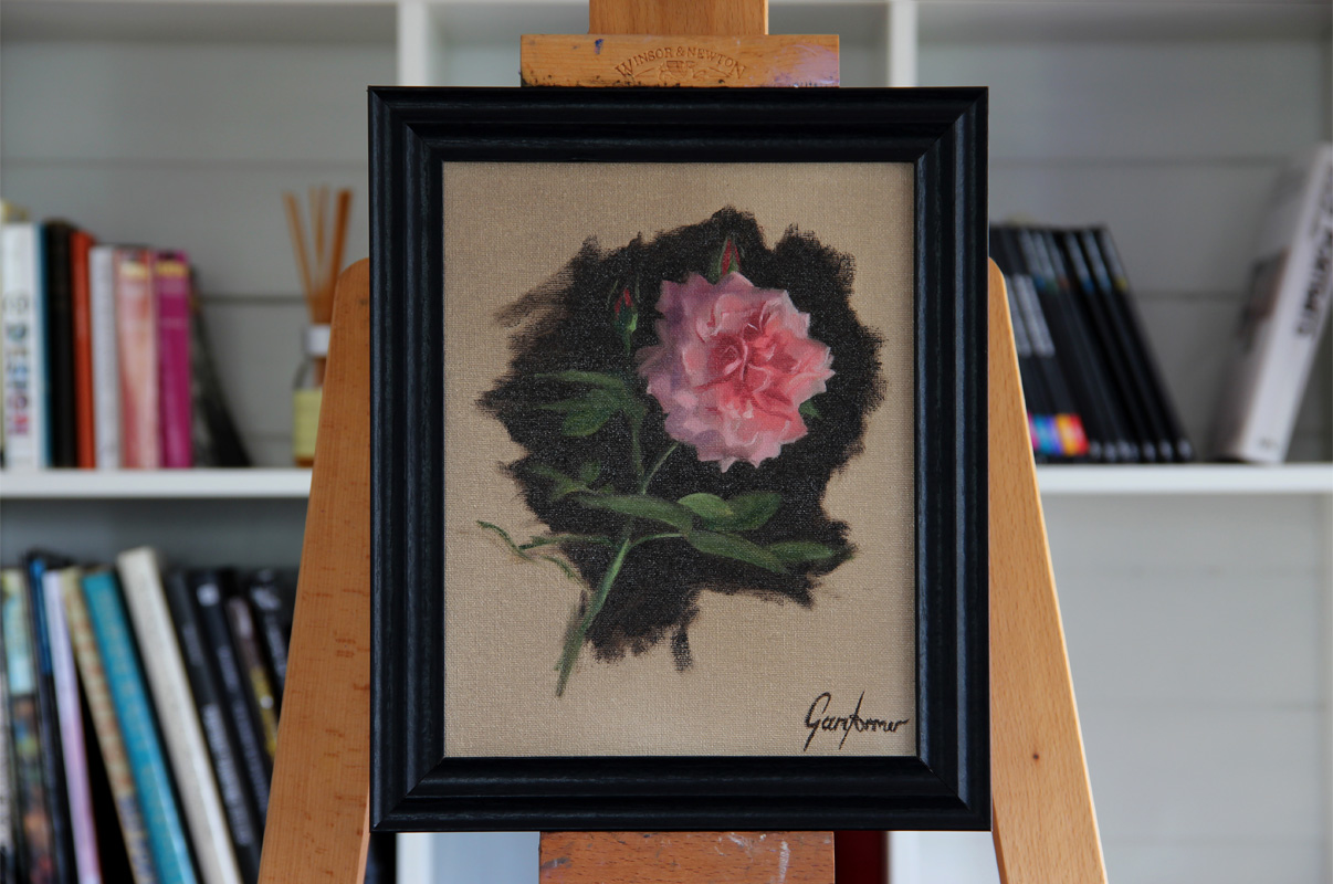 Floribunda Rose Oil Painting Framed